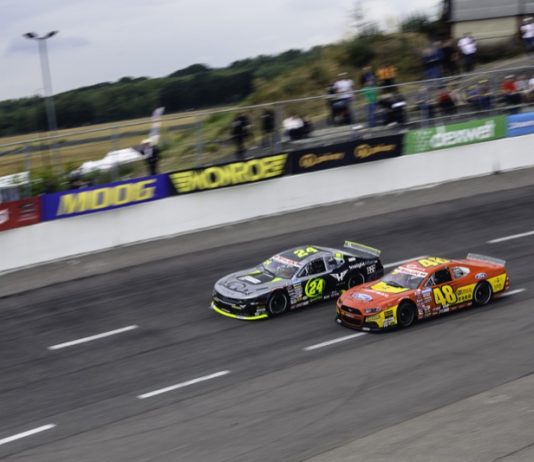Myatt Snider (48) battles Vittorio Ghirelli Saturday at Raceway Venray. (NASCAR Photo)