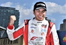 Danial Frost celebrates after winning Saturday's Indy Pro 2000 event in Toronto. (Al Steinberg Photo)