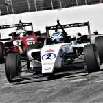 Darren Keane (2) on his way to his first USF2000 triumph Saturday in Toronto. (Al Steinberg Photo)