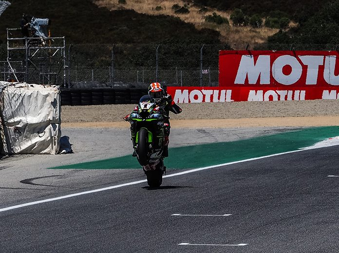 Jonathan Rea powered to victory in Saturday's World Superbike event at WeatherTech Raceway Laguna Seca. (WorldSBK Photo)