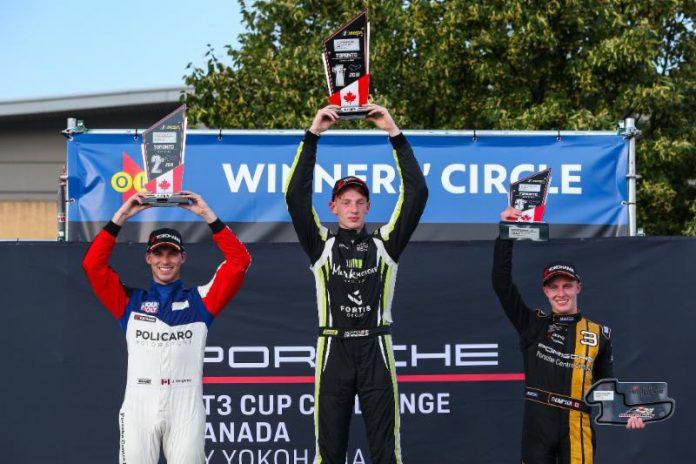 Roman De Angelis (center) continued his hot streak in the Porsche GT3 Cup Challenge Canada by Yokohama Saturday afternoon. (IMSA Photo)