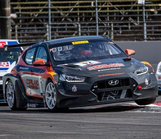Mason Filippi on his way to victory in TCR competition Saturday at Portland Int'l Raceway.