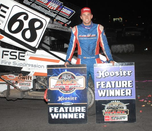 Chase Johnson in victory lane at Petaluma Speedway. (Donna Peter photo)
