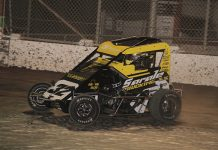 Caden Sarale swept both Super 600 and Non Wing features Saturday at Delta Speedway. (Chris Cleveland Photo)