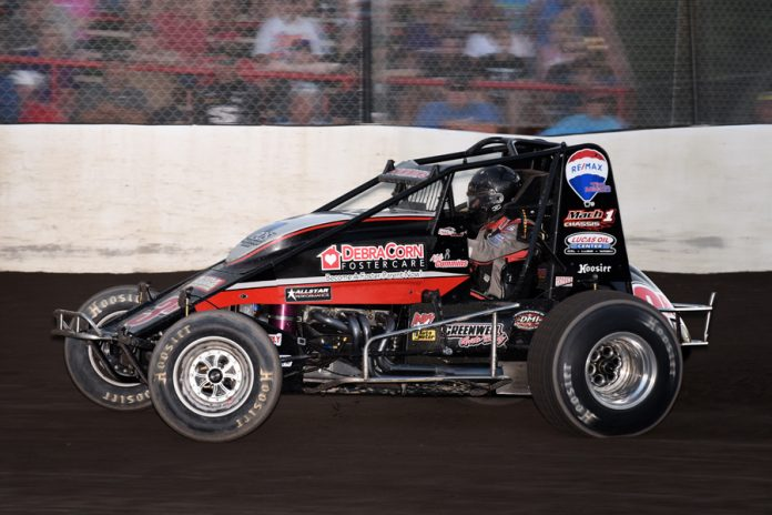 Kyle Cummins won the Sprint Stampede at Tri-State Speedway. (David Nearpass photo)