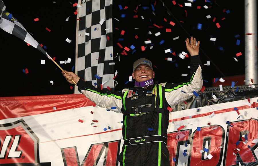 Tyler Erb celebrates after winning Thursday's Lucas Oil Late Model Dirt Series feature at Tri-City Speedway. (Don Figler Photo)