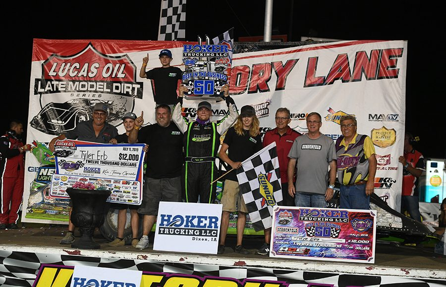 Tyler Erb is joined in victory lane by friends, family and his crew after winning Thursday's Lucas Oil Late Model Dirt Series main event at Tri-City Speedway. (Don Figler Photo)