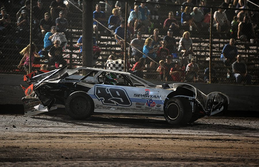 The damaged car of Jonathan Davenport sits on the track after a late-race incident during Thursday's Lucas Oil Late Model Dirt Series feature at Tri-City Speedway. (Don Figler Photo)