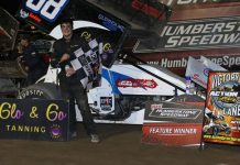 Steven Beckett won the Bob Deswiage Memorial Action Sprint Tour feature at New Humberstone Speedway on Sunday. (Dale Calnan Photo)