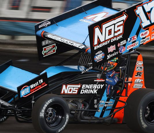 Sheldon Haudenschild will battle for victories this week in Ohio alongside his father, Jac Haudenschild. (Dennis Krieger Photo)