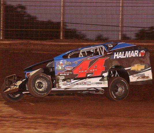 Stewart Friesen on his way to victory Sunday night at BAPS Motor Speedway. (Dan Demarco Photo)