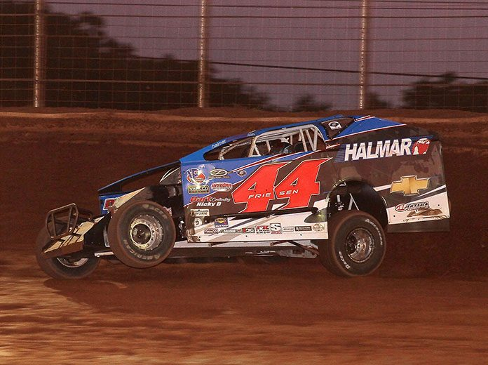 Stewart Friesen on his way to victory Sunday night at BAPS Motor Speedway. (Dan Demarco Photo)