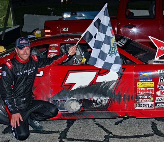 Johnny VanDoorn poses in victory lane after winning Monday's Redbud 400 at Anderson Speedway. (Jim Denhamer Photo)