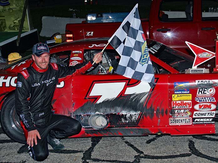 Johnny VanDoorn poses in victory lane after winning Monday's Redbud 400 at Anderson Speedway. (Jim Denhamer Photo)