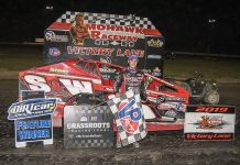 Mat Williamson in victory lane at Mohawk Int'l Raceway. (DIRTcar photo)