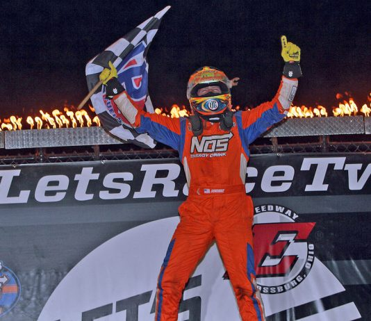 Tyler Courtney celebrates his third straight USAC victory at Eldora Speedway. (Jim DenHamer photo)