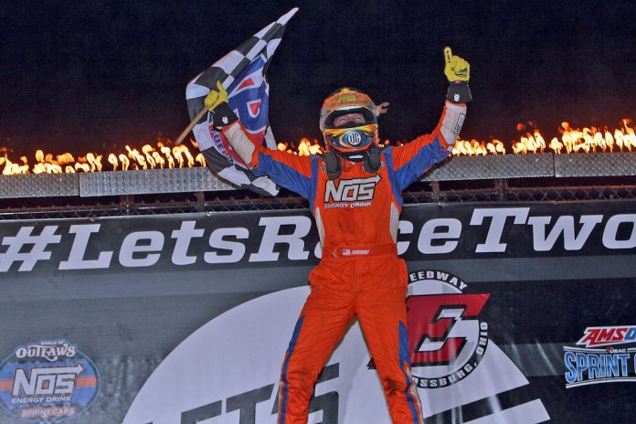 Tyler Courtney celebrates his third straight USAC victory at Eldora Speedway. (Jim DenHamer photo)