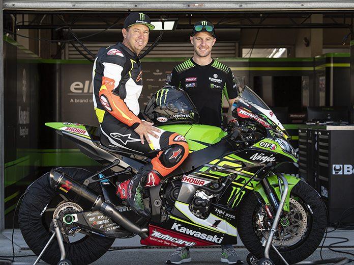 Jeremy McGrath got to try his hand at riding a Kawasaki World Superbike entry earlier this week. (Kawasaki Photo)