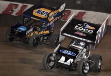 Brad Sweet (49) battles Donny Schatz at Eldora Speedway. (Frank Smith photo)
