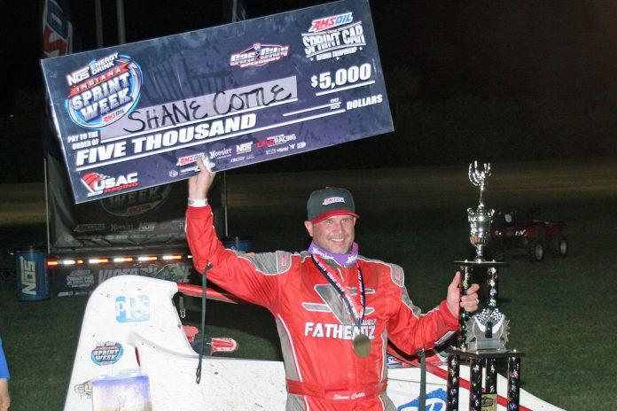 Shane Cottle in victory lane at Gas City I-69 Speedway. (Jim DenHamer photo)