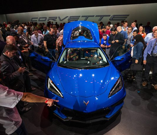 Chevrolet has introduced the 2020 Corvette Stingray, the brand's first production mid-engine Corvette (Dan MacMedan/ Chevrolet Photo)