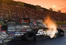 Cruz Pedregon is the early Funny Car qualifying leader at the Dodge Mile-High NHRA Nationals. (NHRA Photo)