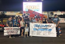 Wayne Johnson victory lane on Friday at Jackson Motorplex.