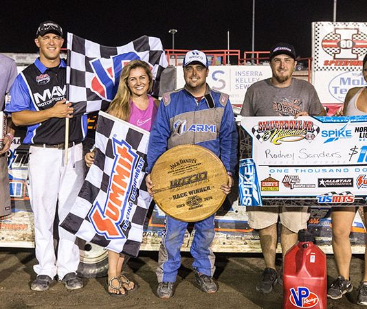 Rodney Sanders won the second 15-lap segment of the United States Modified Touring Series event Friday at I-80 Speedway. (USMTS Photo)