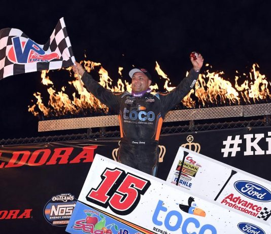 Donny Schatz in victory lane at Eldora Speedway. (Frank Smith photo)