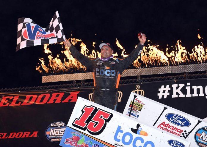 Donny Schatz in victory lane at Eldora Speedway. (Frank Smith photo)