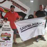 Sam Hafertepe Jr. in victory lane at Big Sky Speedway. (ASCS photo)