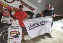 Sam Hafertepe Jr. in victory lane at Big Sky Speedway. (ASCS photo)