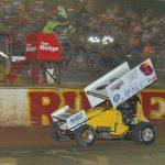Derek Hagar takes the checkered flag at Crowley's Ridge Speedway. (Jimmy Jones photo)