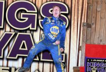 Brad Sweet celebrates after winning the Kings Royal at Eldora Speedway. (Frank Smith photo)