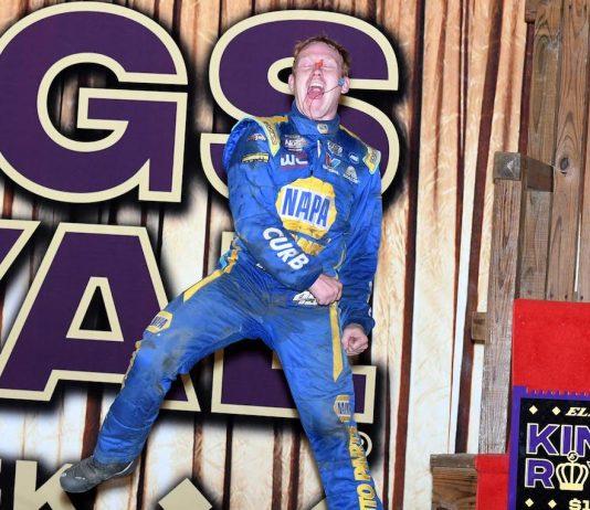Brad Sweet celebrates after winning the Kings Royal at Eldora Speedway. (Frank Smith photo)