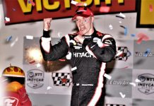 Josef Newgarden in victory lane at Iowa Speedway. (Al Steinberg photo)