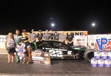 Chuck Hossfeld and his crew pose in victory lane Saturday night Lancaster Speedway @ New York Int'l Raceway Park. (Paula Thompson Photo)