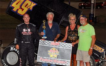 Luke Cranston in victory lane at Dodge City Raceway Park. (TWC photo)
