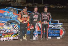Erick Rudolph (center) won Sunday's 358 modified feature at Utica-Rome Speedway. (DIRTcar photo)