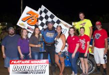 Tyler Blank in victory lane. (Carol Wirts photo)