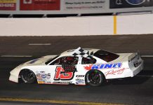 Cassius Clark celebrates after winning Saturday's IWK 250. (Ken MacIsaac Photo)
