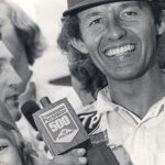Richard Petty in victory lane at Pocono Raceway in 1974.
