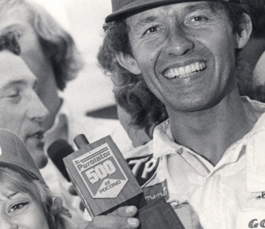 Richard Petty in victory lane at Pocono Raceway in 1974.