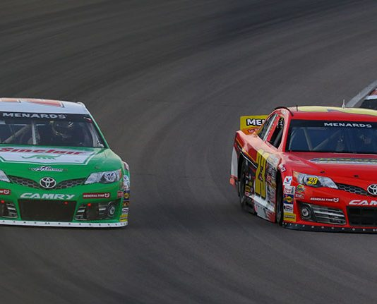 Michael Self (25) and Bret Holmes (23) take the fight for the ARCA Menards Series title to Pocono Raceway this weekend. (ARCA Photo)
