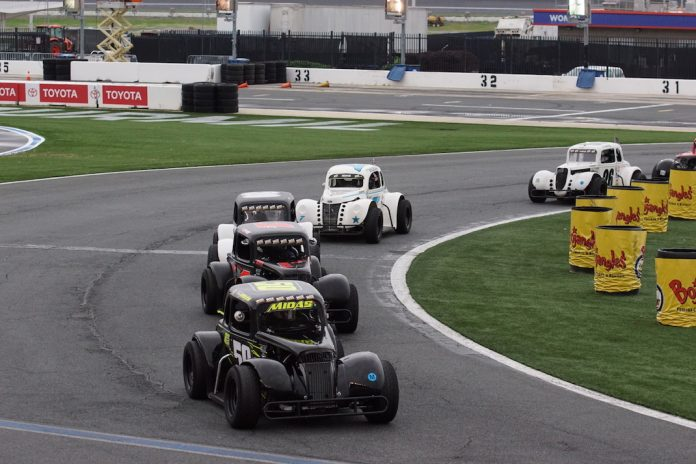 Carson Ferguson leads the Legend Car Pro feature at Charlotte Motor Speedway. (CMS photo)