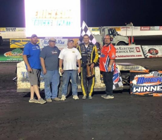 James Slawson in victory lane on Wednesday at Jackson Motorplex.