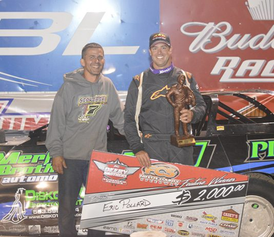 First-time Deery Brothers Summer Series winner Eric Pollard led all 40 laps of the IMCA Late Model tour main event at Fayette County Speedway Wednesday night. (Zakary Kriener Photo)