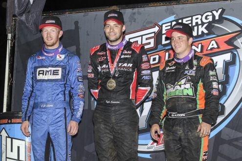 Kyle Cummins (center) won Thursday night at Lincoln Park Speedway and is joined by C.J. Leary and Brady Bacon. (Dick Ayers photo)