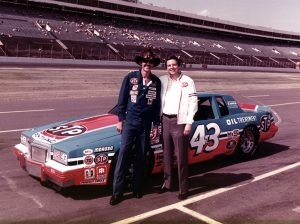 Richard Petty (left) with Mike Curb. Petty won the 200th race of his career with support from Mike Curb.