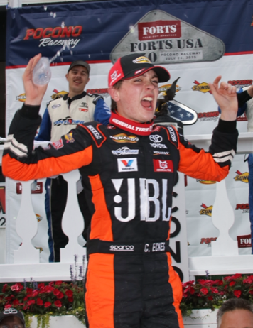 Christian Eckes celebrates after winning Friday's ARCA Menards Series race at Pocono Raceway. (ARCA Photo)